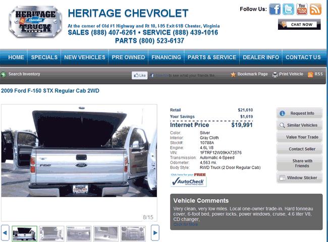 Heritage Chevrolet Chester, VA View Dealer Ad