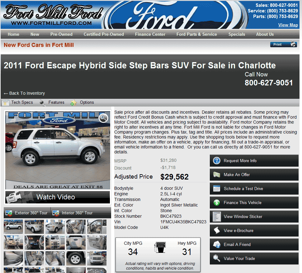 2013 Ford Escape Hybrid: 2011 Ford Escape Real Dealer Prices