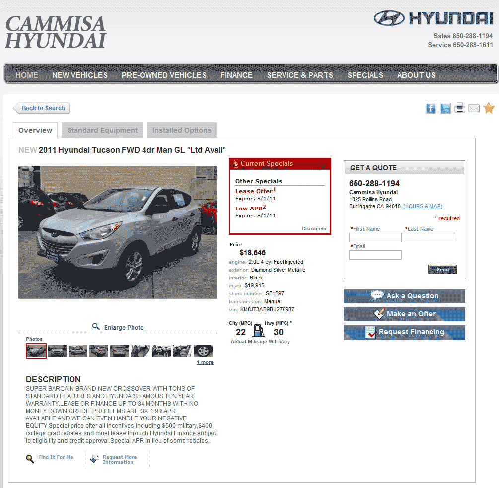 2011 Hyundai Tucson Real Dealer Prices Free Costhelper Com