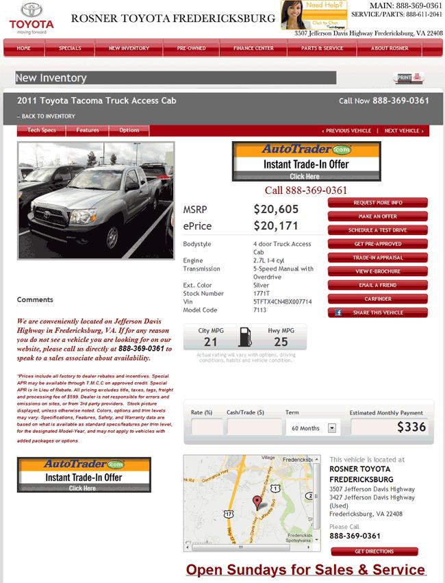 Rosner Toyota Fredricksburg, VA View Dealer Ad