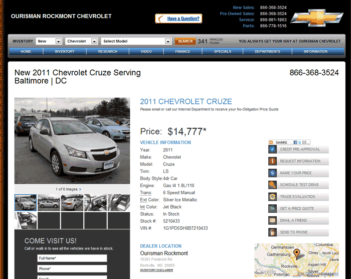 2011 Chevrolet Cruze Real Dealer Prices Free