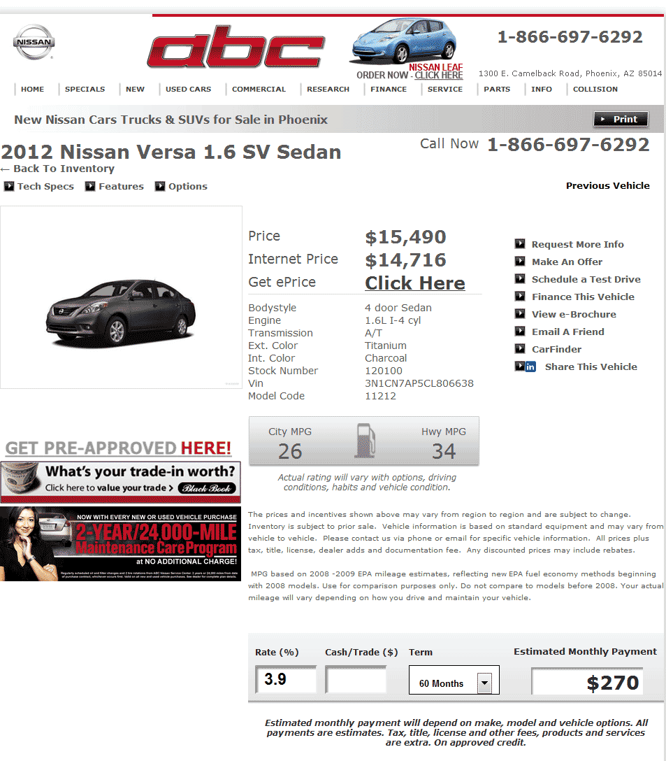 2012 Nissan Versa Real Dealer Prices Free Costhelper Com