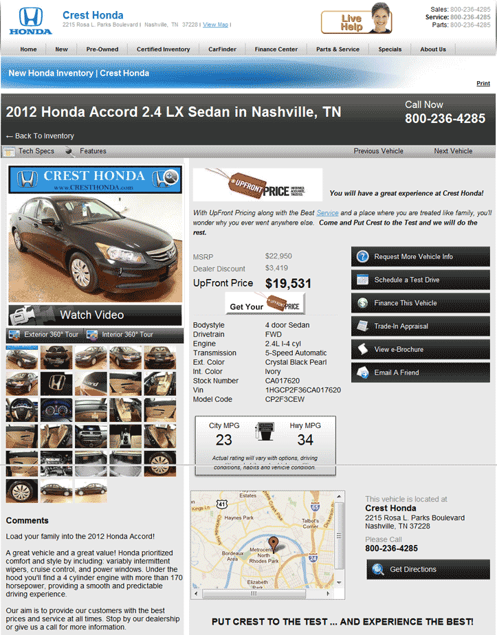 Crest Honda Nashville, TN View Dealer Ad