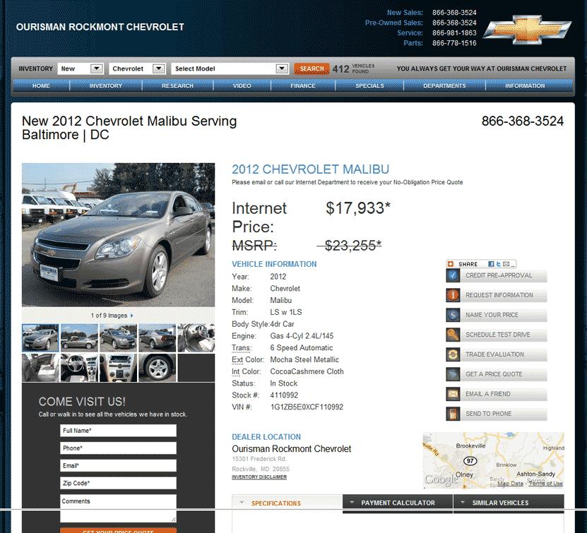 2012 Chevrolet Malibu Real Dealer Prices Free