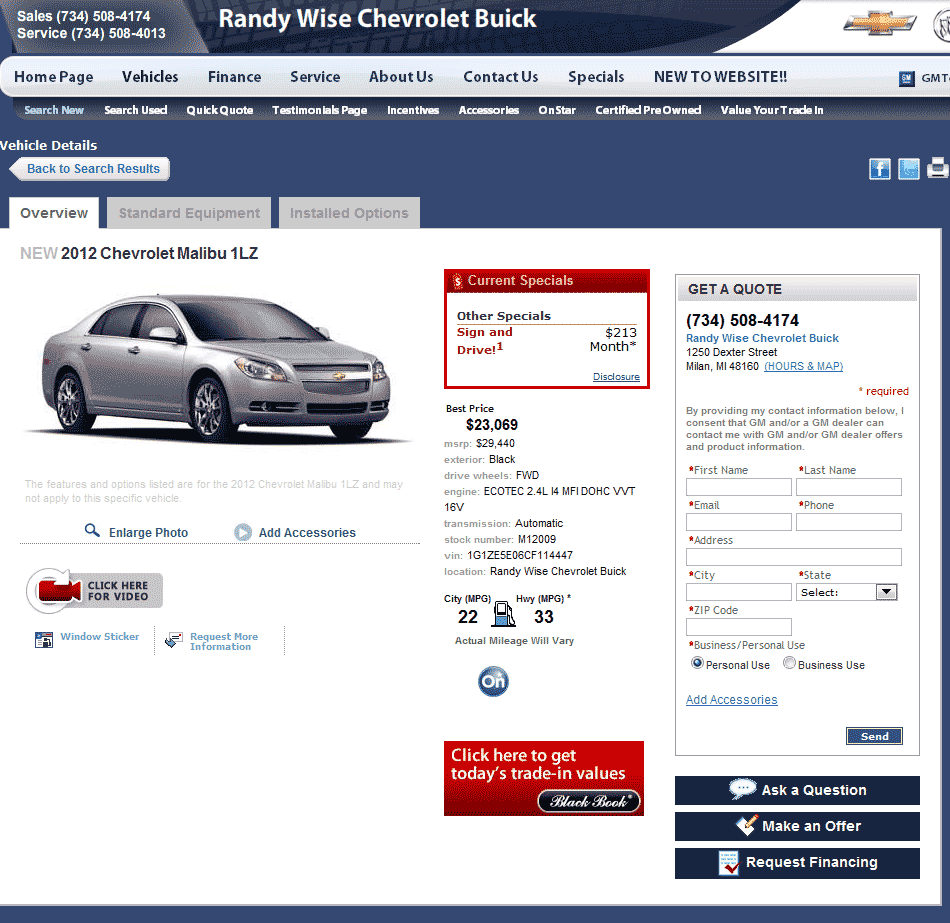 2012 Chevrolet Malibu Real Dealer Prices - Free ...