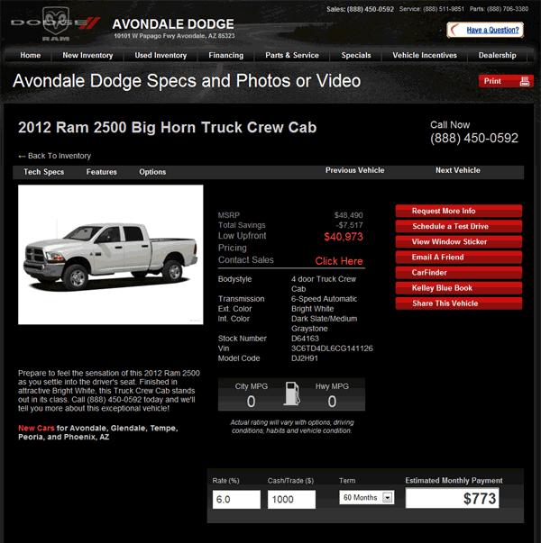 2012 Dodge Ram 2500 Real Dealer Prices