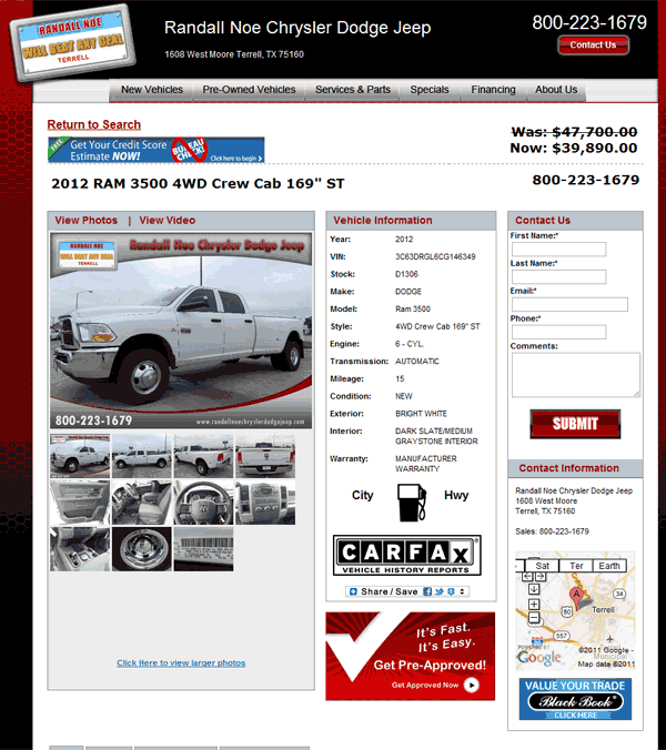 Randall Noe Terrell Tx >> 2012 Dodge Ram 3500 Real Dealer Prices - Free - CostHelper.com
