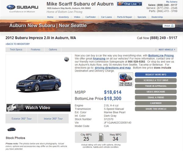 2012 Subaru Impreza Real Dealer Prices Free Costhelper Com
