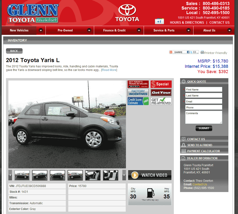 Glenn Toyota Frankfort, KY View Dealer Ad