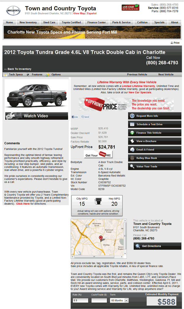 Town And Country Toyota Charlotte, NC View Dealer Ad