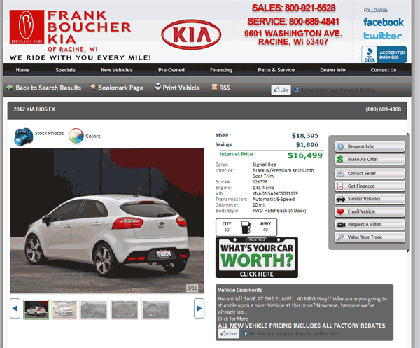 2012 Kia Rio Real Dealer Prices Free Costhelper Com