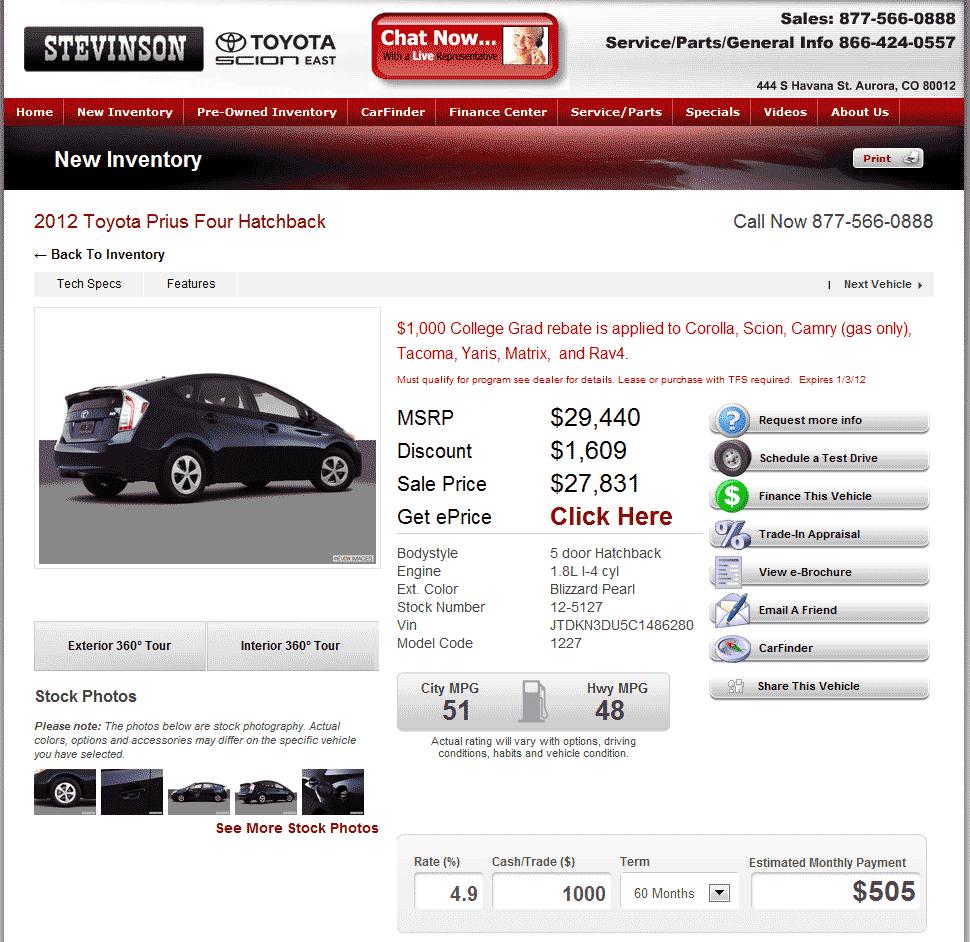 2012 Toyota Prius Real Dealer Prices Free Costhelper Com