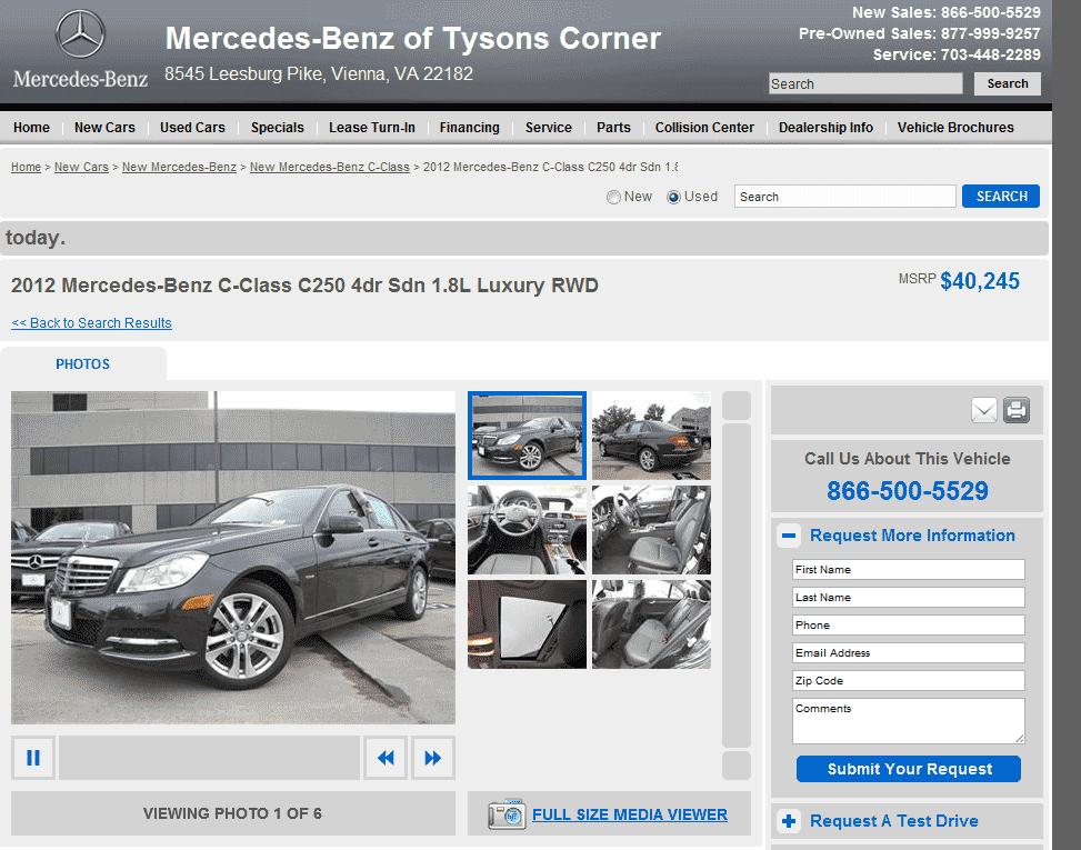 Mercedes Benz Of Tysons >> 2012 Mercedes-Benz C-Class Real Dealer Prices - Free - CostHelper.com