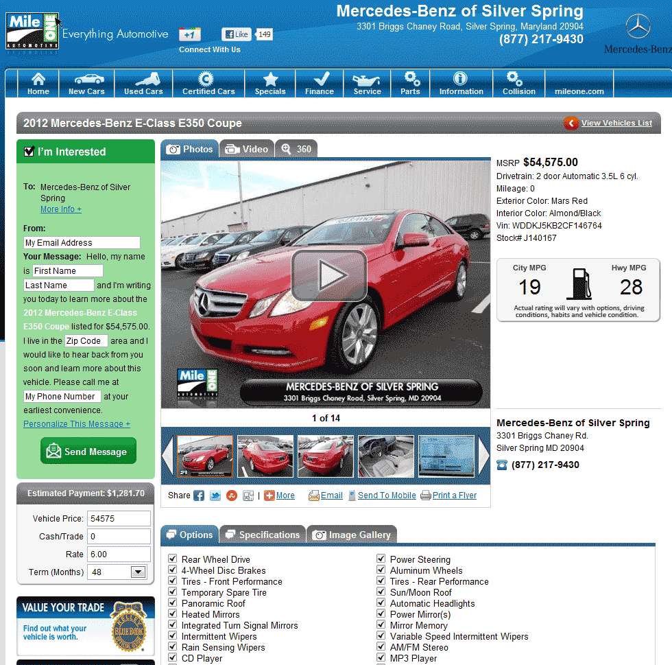 2012 mercedes benz e class real dealer prices free for Mercedes benz of silver spring md