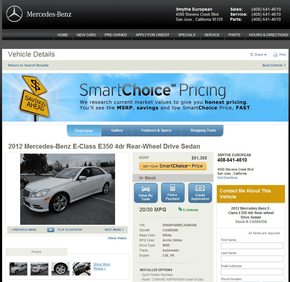 2012 mercedes benz e class real dealer prices free for Smythe mercedes benz