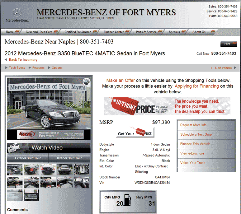 2012 mercedes benz s class real dealer prices free for Mercedes benz of ft myers