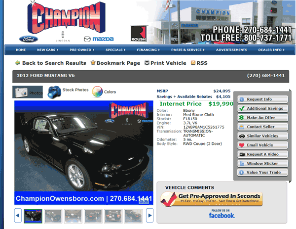 2012 Ford Mustang Real Dealer Prices - Free - CostHelper.com