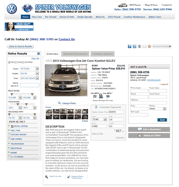 2012 Volkswagen Eos Real Dealer Prices - Free - CostHelper.com