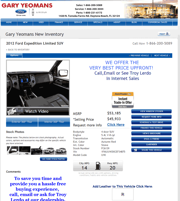 2012 Ford Expedition Real Dealer Prices