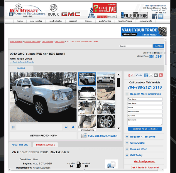 Buick Dealers In Nc: 2012 GMC Yukon Real Dealer Prices
