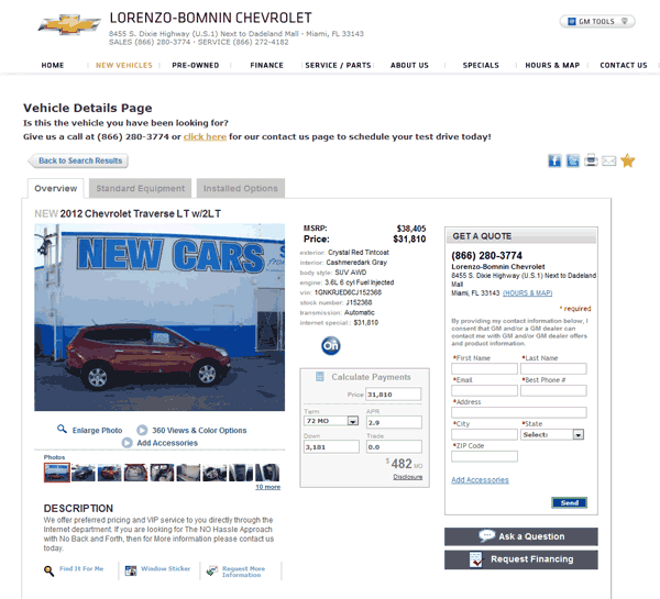 2012 Chevrolet Traverse Interior: 2012 Chevrolet Traverse Real Dealer Prices