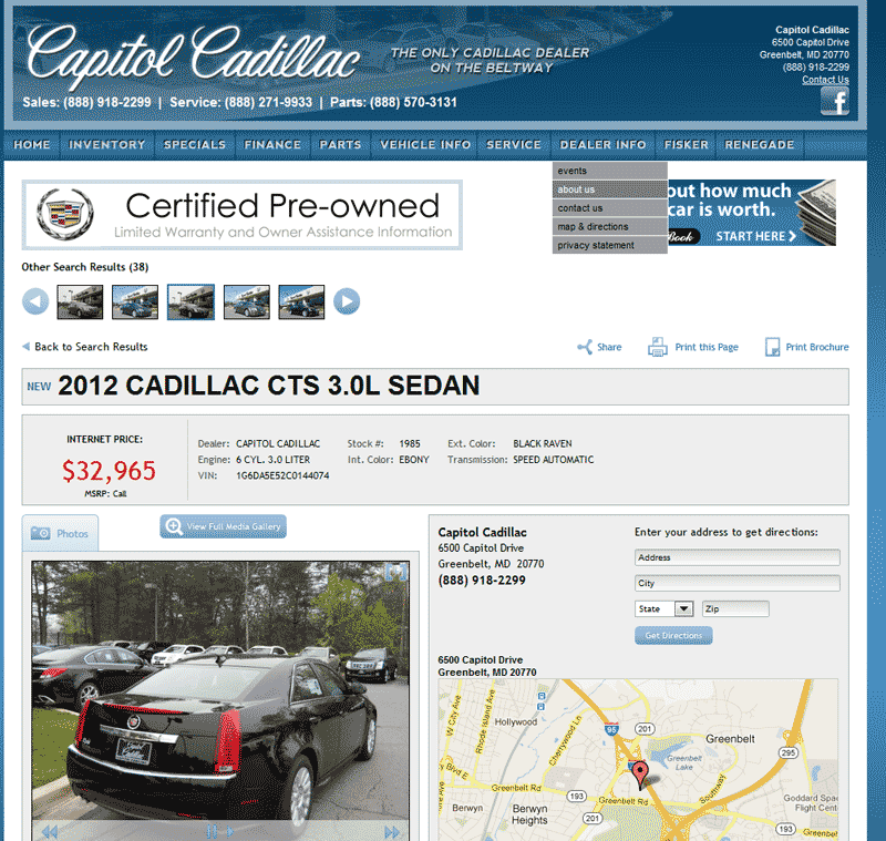 2012 Cadillac CTS Real Dealer Prices