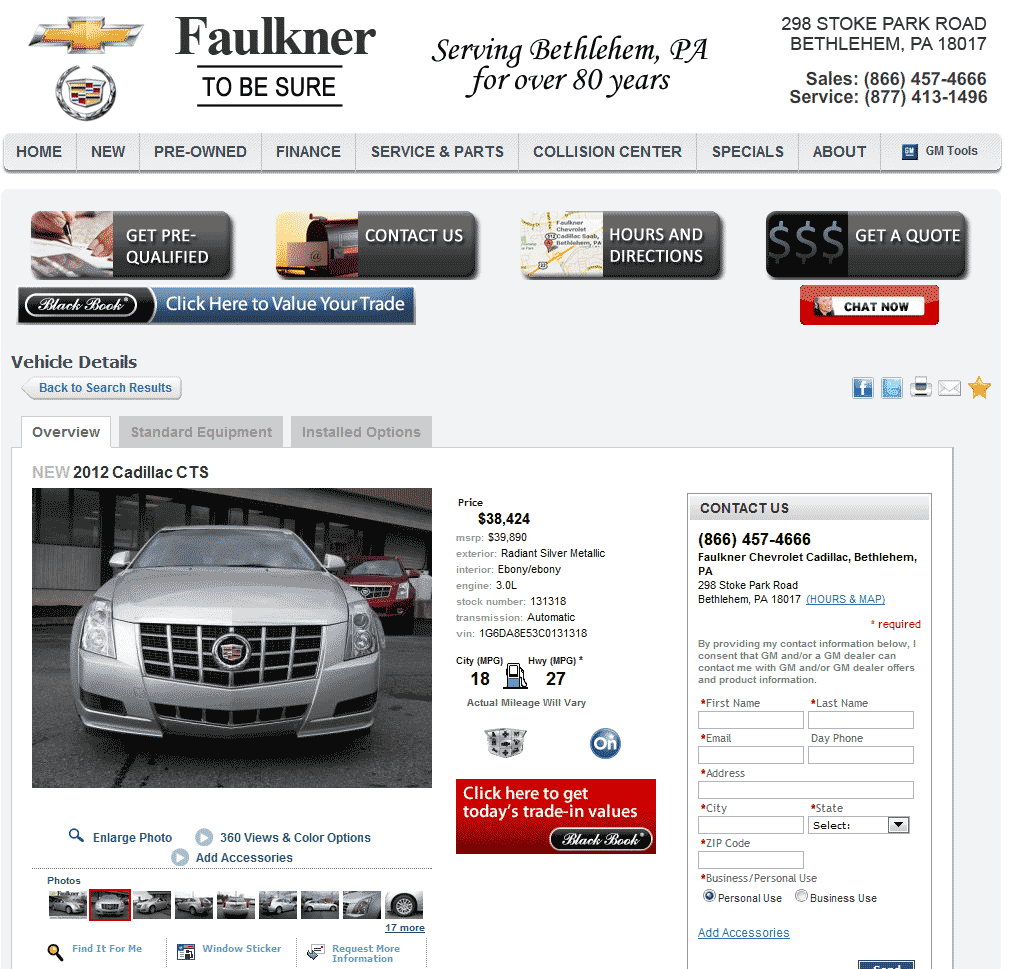 2012 cadillac cts real dealer prices free for Faulkner motors bethlehem pa