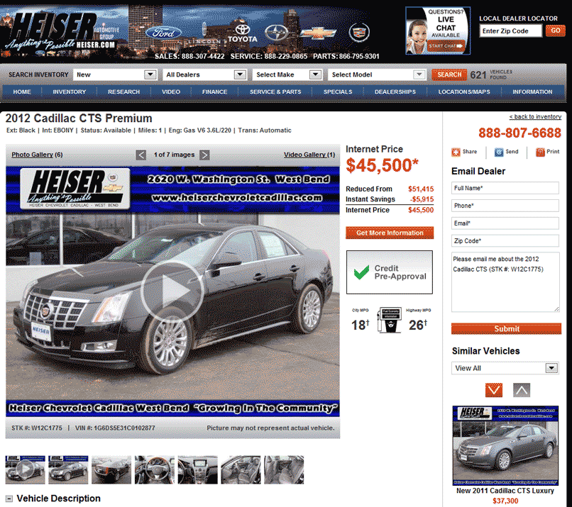 Ron Carter Cadillac >> 2012 Cadillac CTS Real Dealer Prices - Free - CostHelper.com