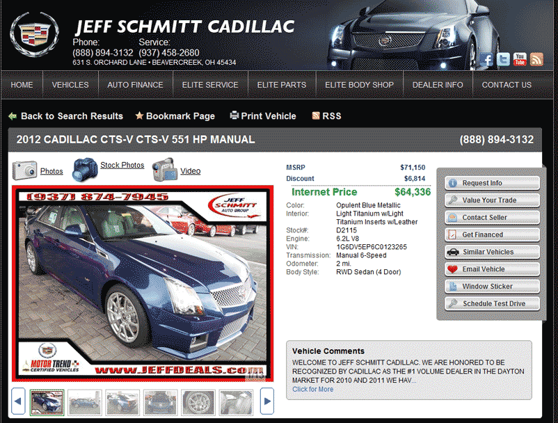 2012 Cadillac CTS-V Real Dealer Prices - Free - CostHelper.com