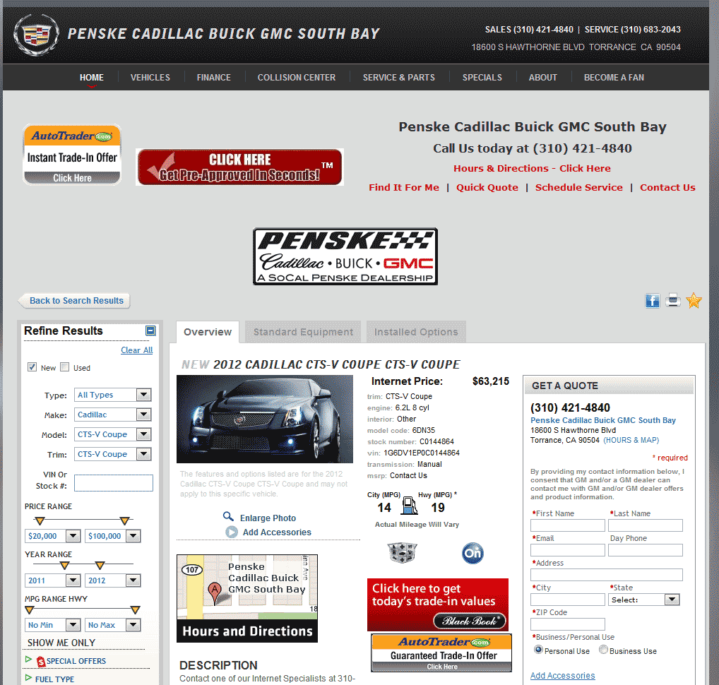 Cadillac Cts V Cost: 2012 Cadillac CTS-V Real Dealer Prices