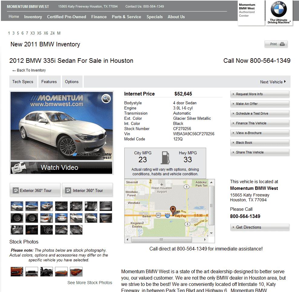2012 BMW 335i Real Dealer Prices