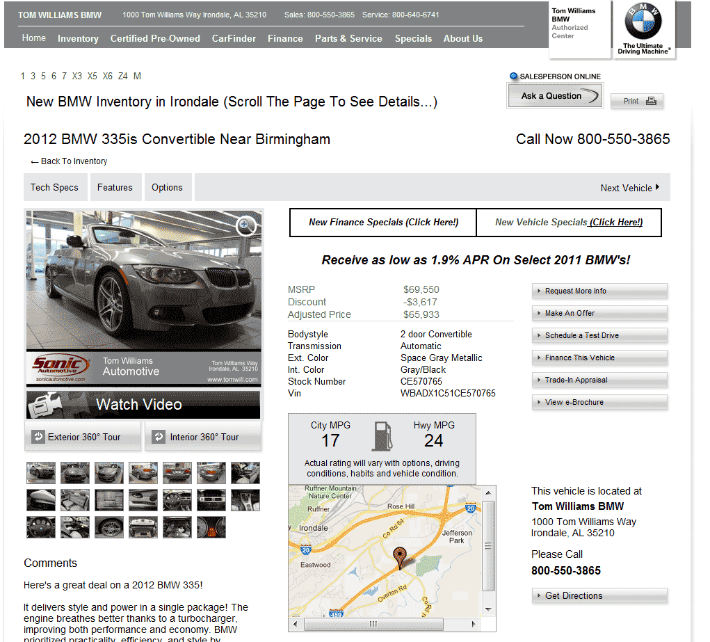 2012 BMW 335is Real Dealer Prices