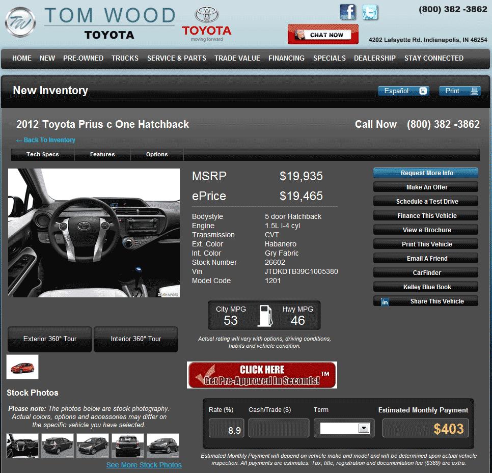 Mazda Dealership Indianapolis: 2012 Toyota Prius C Real Dealer Prices