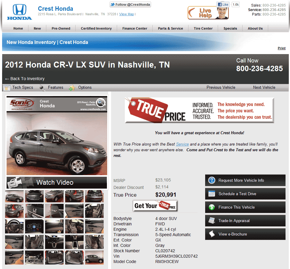 Honda Dealership Houston >> 2012 Honda CR-V Real Dealer Prices - Free - CostHelper.com