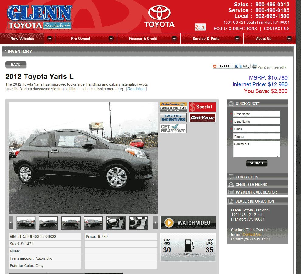 Marvelous Glenn Toyota Frankfort, KY View Dealer Ad
