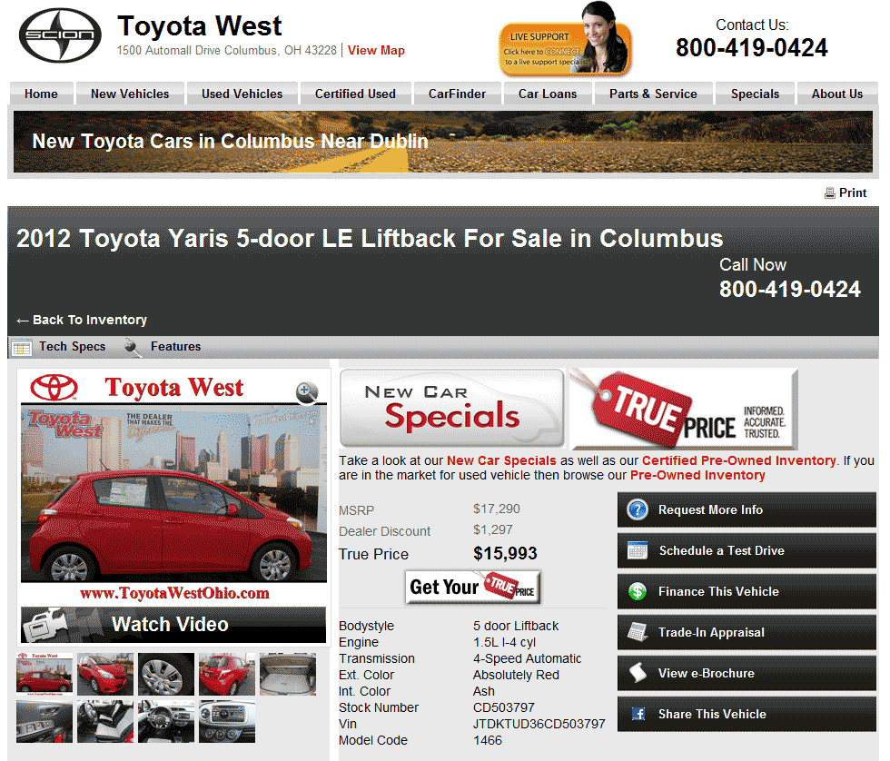 2012 toyota yaris real dealer prices free costhelper com