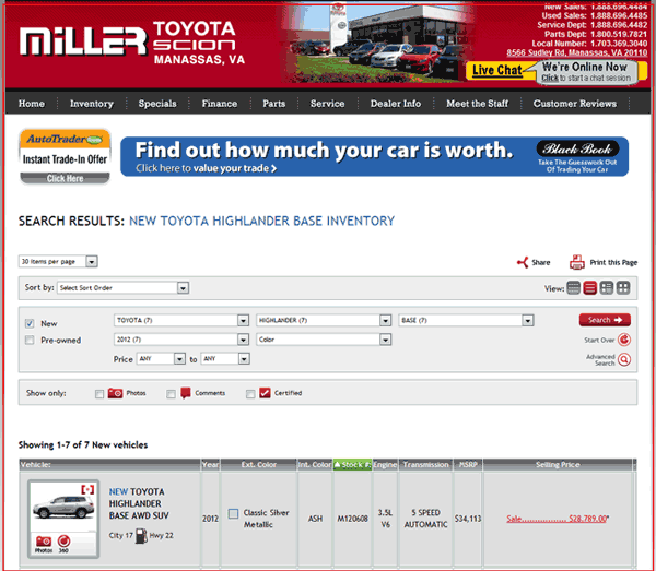 Miller Toyota Manassas, VA View Dealer Ad