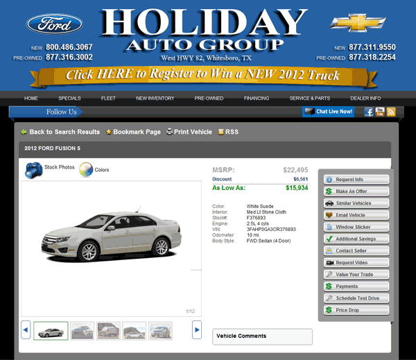Holiday Ford Whitesboro Tx >> 2012 Ford Fusion Real Dealer Prices Free Costhelper Com