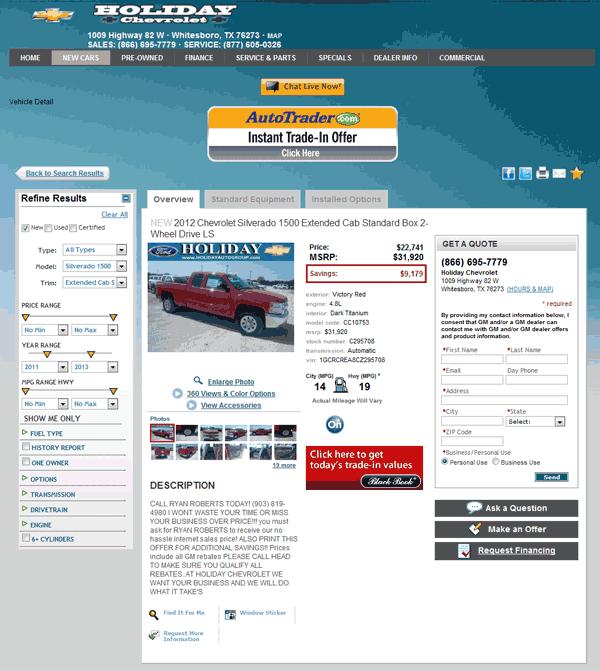 Holiday Chevrolet Whitesboro Texas >> 2012 Chevrolet Silverado 1500 Real Dealer Prices Free Costhelper Com