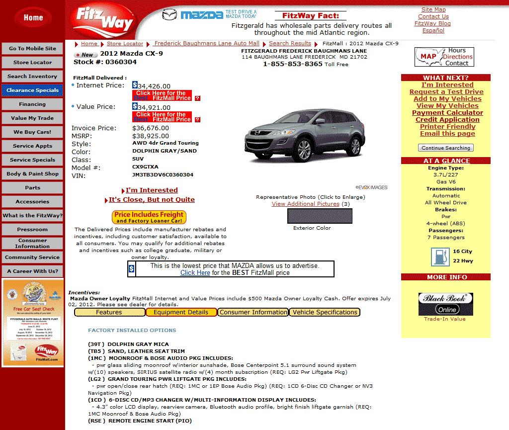 Mazda Dealers Maryland: 2012 Mazda CX-9 Real Dealer Prices