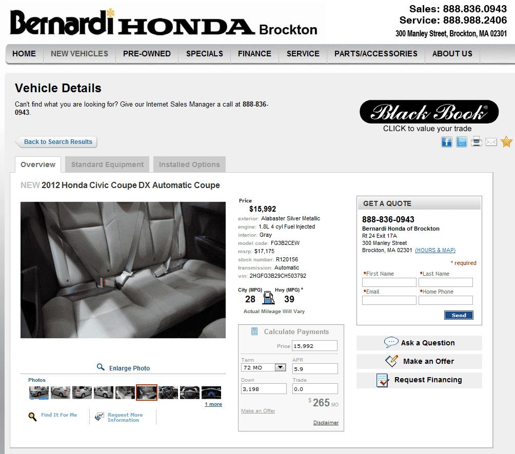 Bernardi Honda Brockton, MA View Dealer Ad
