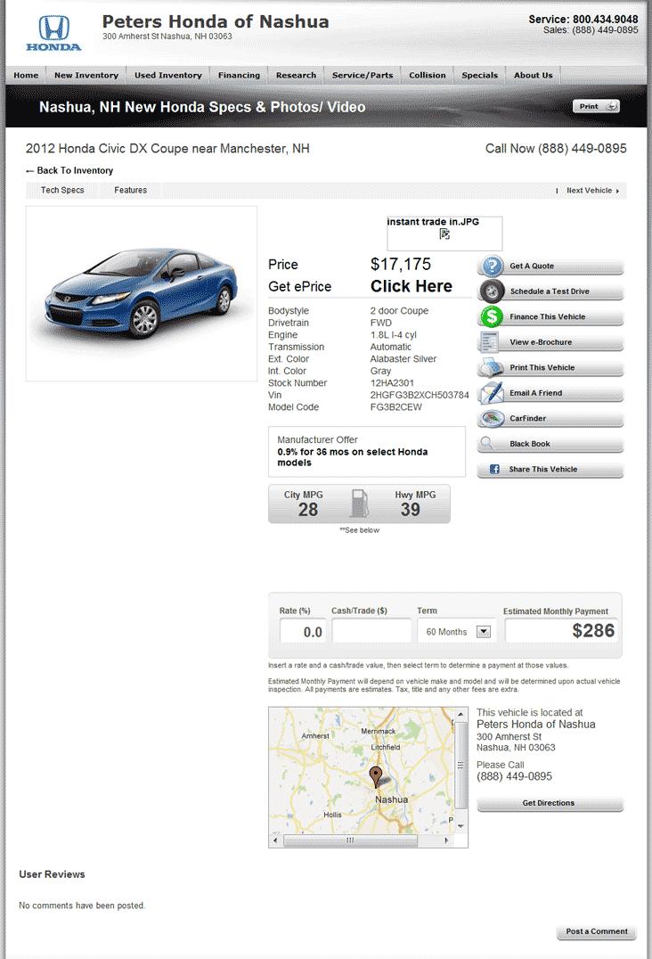 Peters Honda Nashua, NH View Dealer Ad