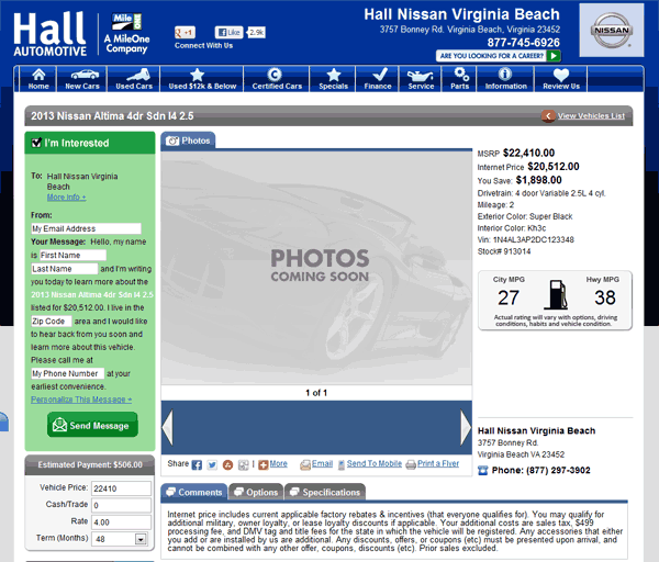 Hall Nissan Virginia Beach, VA View Dealer Ad