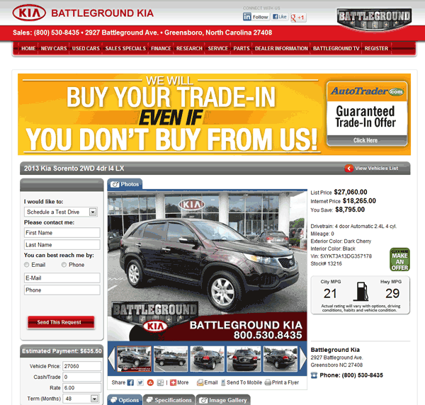 Battleground Kia Greensboro, NC View Dealer Ad