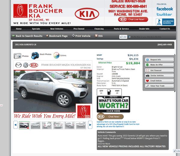 2013 Kia Sorento Real Dealer Prices