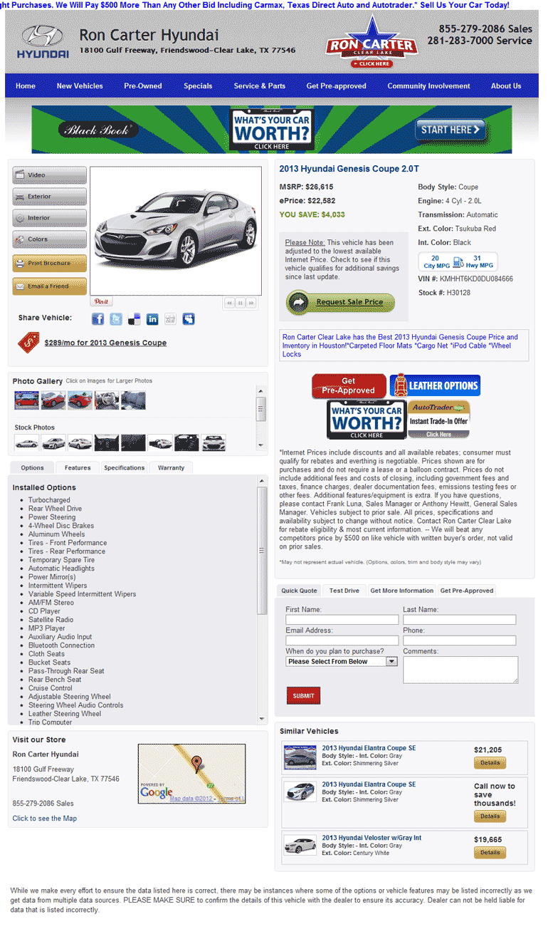 Ron Carter Hyundai Friendswood, TX View Dealer Ad