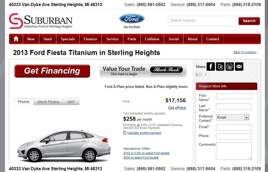 Suburban Ford Of Sterling Heights >> 2013 Ford Fiesta Real Dealer Prices - Free - CostHelper.com