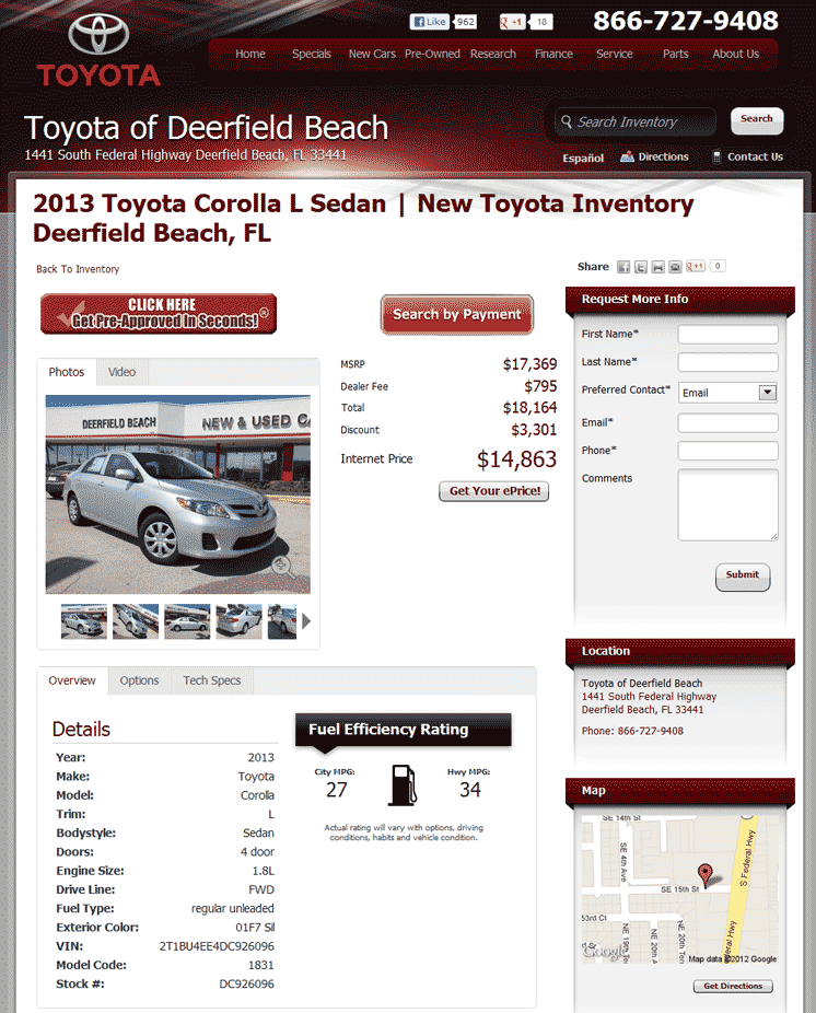 2013 Toyota Corolla Real Dealer Prices