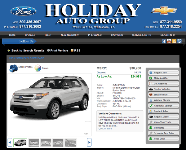 Holiday Ford Whitesboro Tx >> 2013 Ford Explorer Real Dealer Prices Free Costhelper Com