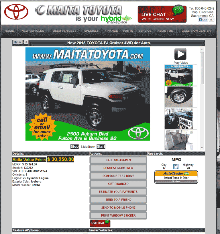 2013 Toyota FJ Cruiser Real Dealer Prices
